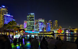 Sydney by Night at Vivid Festival 2012 Royalty Free Stock Photos