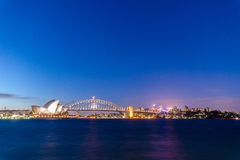Sydney nightlife opera house. Twilight Stock Photos