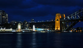 Sydney north shore. The night view at Sydney north shore with Harbour Bridge and the Lunapark Royalty Free Stock Image