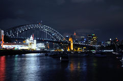 Sydney north shore. The night view at Sydney north shore with Harbour Bridge and the Lunapark Royalty Free Stock Photos