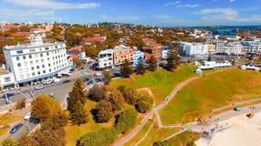 SYDNEY - NOVEMBER 10, 2015: Bondi Beach coast aerial view on a b Stock Images
