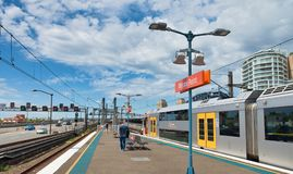 SYDNEY - NOVEMBER 6, 2015: Subway train on a outdoor railway.  Train is one of the most convenient mode of public transport in stock photos