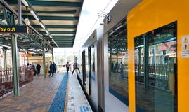 SYDNEY - NOVEMBER 6, 2015: Subway train on a outdoor railway.  Train is one of the most convenient mode of public transport in. Sydney royalty free stock photography