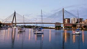 ANZAC Bridge in Sydney at dusk stock images