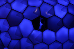 SYDNEY NSW, AUSTRALIA - JUNE 2, 2014; Cellular Tessellation at V. SYDNEY NSW, AUSTRALIA - JUNE 2, 2014; Cellular Tessellation.  Glowing  panels form a rounded Stock Photos