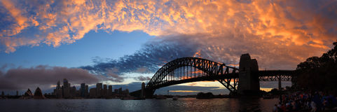 SYDNEY NSW/AUSTRALIAER: Panoramat beskådar av den Sydney hamnen. royaltyfri bild