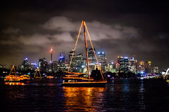 Sydney NYE 2015 barche e orizzonte Fotografia Stock