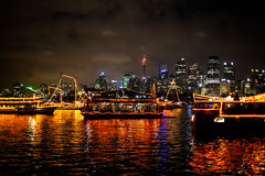 Sydney NYE 2015 Boats Parade Stock Photos
