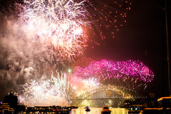 Sydney NYE 2015 feux d'artifice Photographie stock libre de droits