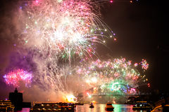 Sydney Fireworks. Fireworks at Harbour Bridge in Sydney bay at midnight for the new years eve 2015, shot from a boat. At great final explosions royalty free stock images