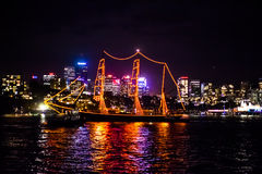 Sydney NYE 2015 sailing ship and skyline Stock Photos
