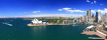 Sydney-October 2009 : Sydney harbor look from Harbour bridge. Royalty Free Stock Image