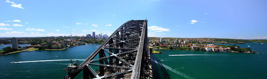 Sydney-October 2009 : Sydney harbor look from Harbour bridge. Royalty Free Stock Photos