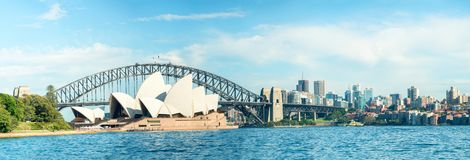 SYDNEY - OCTOBER 23, 2015: Beautiful panoramic view of city harb. Our. Sydney attracts 10 million visitors around the globe annually Royalty Free Stock Photo