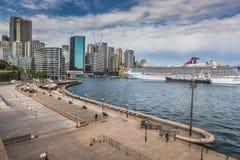 SYDNEY - OCTOBER 27 : Sydney city circular quay sunset lights an Stock Photography