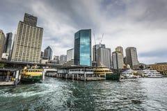 SYDNEY - OCTOBER 27 : Sydney city circular quay sunset lights an Royalty Free Stock Photo