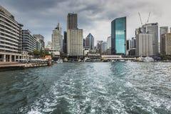 SYDNEY - OCTOBER 27 : Sydney city circular quay sunset lights an Stock Image