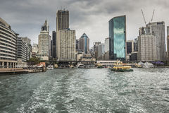 SYDNEY - OCTOBER 27 : Sydney city circular quay sunset lights an Stock Photos