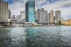SYDNEY - OCTOBER 27 : Sydney city circular quay sunset lights an Royalty Free Stock Photography