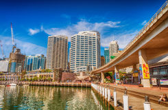 SYDNEY - OCTOBER 2015: Sydney Darling Harbour skyline on a beaut Royalty Free Stock Photography