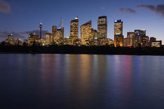 Sydney Office Buildings. Sydney City Skyline with office buildings just after sunset. Long exposure and twilight royalty free stock images
