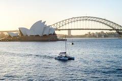 SYDNEY - Oktober 12: Sydney Opera House sikt på Oktober 12, 2017 i Sydney, Australien Sydney Opera House är berömda konster Royaltyfri Bild