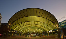 Sydney Olympic Park Railway Station taken after sunset. This image is taken across from Park Street bus station. It was designed to support large crowds Stock Photo