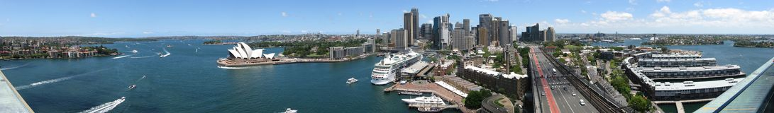 Sydney from one of the bridge pylons. A panoramic view of Sydney, Australia taken from one of the harbour bridge pylons Royalty Free Stock Photography