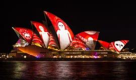 Sydney opera żegluje zaświeca up podczas Żywy 2016 Zdjęcie Stock
