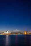 Sydney Opera and harbour bridge at night. View on Sydney opera and Harbour bridge at night, long exposure Stock Photo