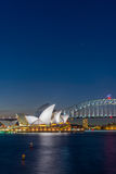 Sydney Opera and harbour bridge at night. View on Sydney opera and Harbour bridge at night, long exposure Stock Images