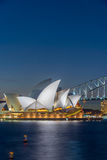Sydney Opera and harbour bridge at night. View on Sydney opera and Harbour bridge at night, long exposure Royalty Free Stock Images