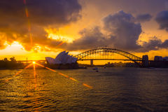 Sydney Opera and harbour bridge at sunset. View on Sydney opera and Harbour bridge at sunset Royalty Free Stock Photography