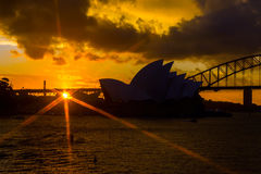 Sydney Opera and harbour bridge at sunset. View on Sydney opera and Harbour bridge at sunset Royalty Free Stock Photo