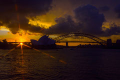 Sydney Opera and harbour bridge at sunset. View on Sydney opera and Harbour bridge at sunset Stock Image