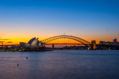 Sydney Opera and harbour bridge at sunset. View on Sydney Opera house and harbour bridge at sunset Stock Images