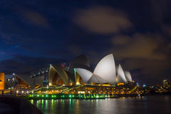 Sydney Opera and harbour bridge at sunset. View on Sydney opera and Harbour bridge at night, long exposure Royalty Free Stock Photo