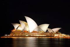 Sydney Opera House. Profile of Sydney Opera House at night royalty free stock photo