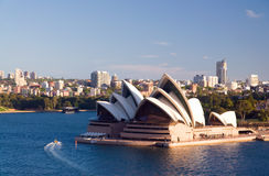 Sydney Opera House. World famous building Sydney Opera House in Australia with city skyline and Royal Botanic Gardens on the background of scenery. The Sydney stock images