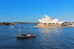 Sydney Opera House. And sailing ship. Australia royalty free stock image