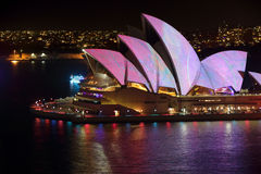 Sydney Opera House adorned with colour and pattern Vivid Sydney Royalty Free Stock Photography