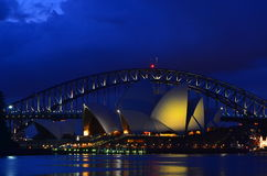 Sydney Opera House 2. Sydney opera house against the background of Sydney Harbour Bridge in blue hour Royalty Free Stock Photography