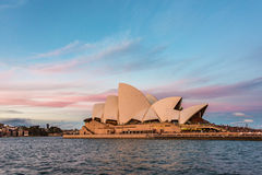 Sydney Opera House against epic sunset sky on the backgroound Royalty Free Stock Photography