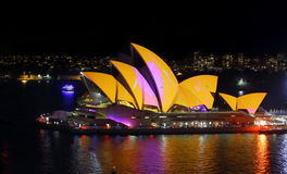 Sydney Opera House aglow in colour for Vivid Sydney Royalty Free Stock Photography