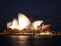 Sydney Opera House alla notte Fotografia Stock