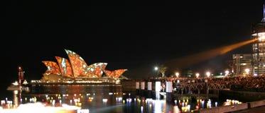 Sydney Opera House, Australia, coloured lights Royalty Free Stock Image