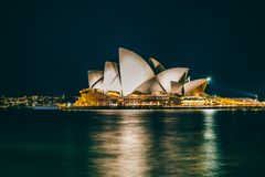 Sydney Opera House, Australia, 2018. Sydney Opera House and Harbour Bridge at night royalty free stock photos