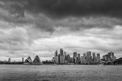 Sydney Opera house. Sydney Australia January 2017 : Sydney CBD in B&W from Kirribilli area Royalty Free Stock Photos