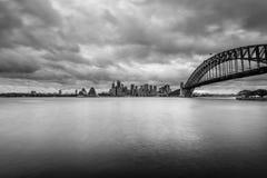 Sydney Opera house. Sydney Australia January 2017 : Sydney CBD in B&W from Kirribilli area Royalty Free Stock Photography