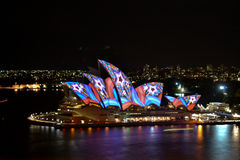 Sydney Opera House. SYDNEY, AUSTRALIA - 14 JUNE 2013: The Sydney Opera House is being illuminated with art by various artists during the annual Vivid Sydney Stock Photo